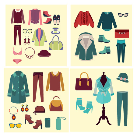 Vector fashion clothes and accessories for women for design fashion look - Illustration Illusztráció