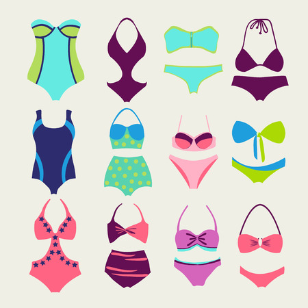 bikini top: vector set of fashion Collection Swimming suits  Summer wear