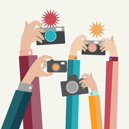 Ilustración del vector, modernos fotógrafos planas manos con dispositivos toman la foto