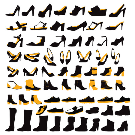 Vector fashion illustration, Silhouette Icons set of fashion Footwear four seasons collection-illustration