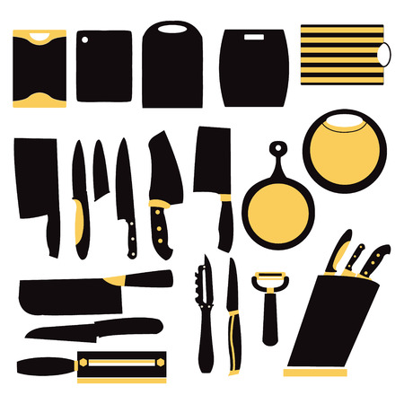 cutting boards: Vector set of kitchen collection of knifes and cutting boards, kitchen tools for cooking- Illustration