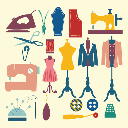 needlecraft product: Tailor and sewing icon set Fashion Industry items - Illustration Illustration