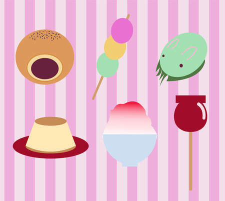 beans and rice: vector cute japanese  traditional sweet food set icon-illustration Illustration