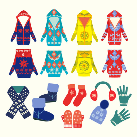 ropa de invierno: Vector colección de ropa de invierno y accesorios en Flat - Ilustración