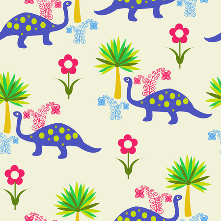 aquatic reptile: Vector pattern with Cute Cartoon Dinosaurs, flowers and palms. All in separate group for easy editing