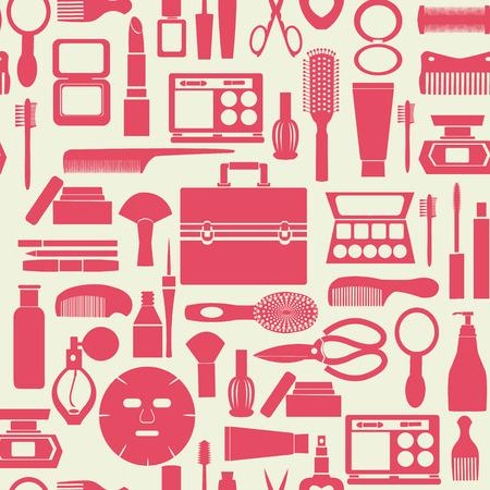 아름다움: 화장품 모음 일러스트