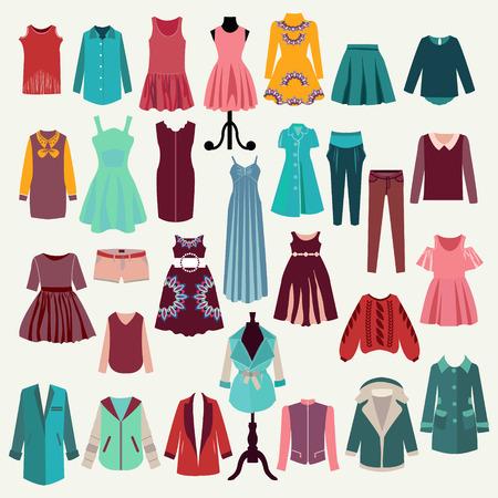 Vrouw kledingkast en fashion boutique collecties