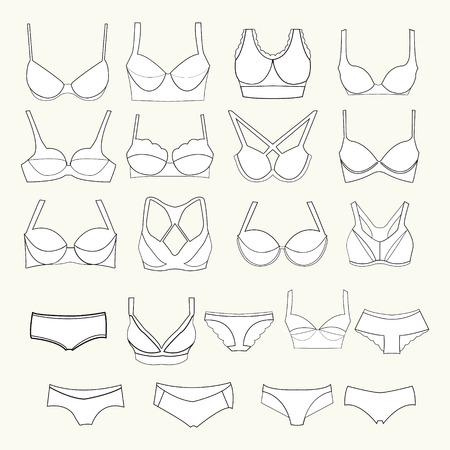 inner wear: Variant types inner wear icons Illustration