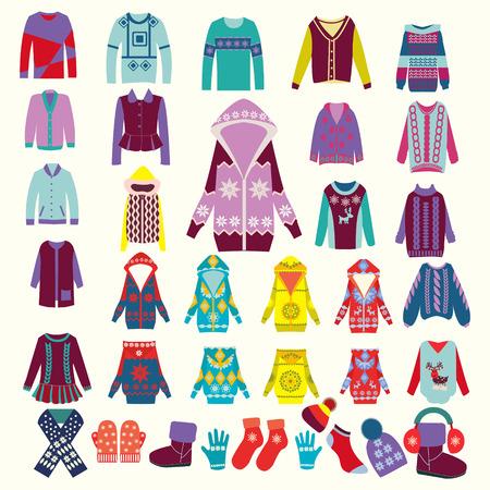 ropa de invierno: colección de vectores de la mujer y el hombre la ropa de invierno - ilustración