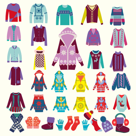 winter fashion: vector collection of woman and man winter clothes - illustration Illustration