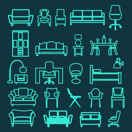Colección de iconos de interior doméstico Mobiliario Set - en el estilo lineal de moda. Foto de archivo - 42770022