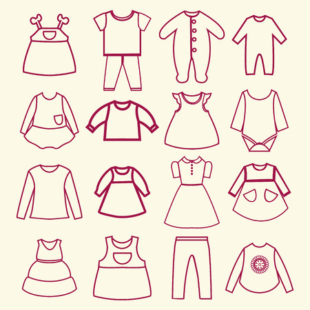 casual clothing: Set of  baby and children clothes collection outline icons in linear style -illustration Illustration