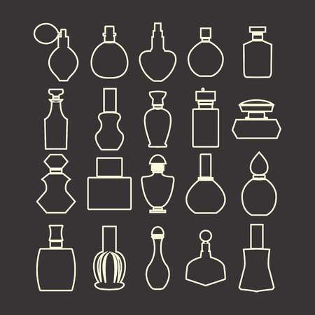 outlined isolated: Vector set of outlined icons  of bottle collection, vector isolated silhouette, Cosmetics  Perfume Bottles  Simple shapes were used.