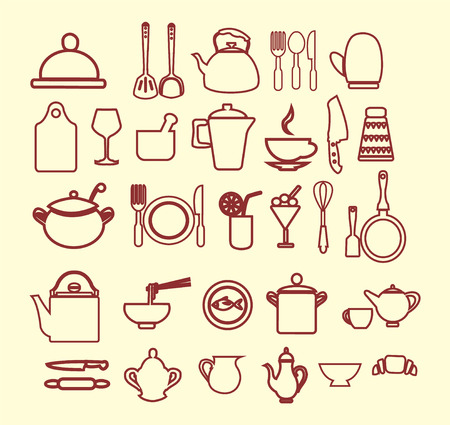 commercial kitchen: vector kitchen and restaurant icon, kitchenware set  outlined Illustration