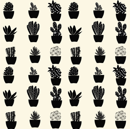 vector black and white cartoon cactus pattern hand drawn
