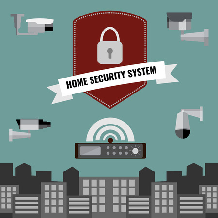 home video camera: Home security cctv cam system flat design set Illustration