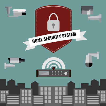 surveillance camera: Home security cctv cam system flat design set Illustration
