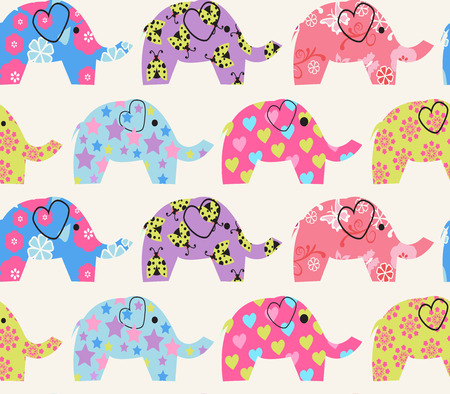 green day baby blue background: Vector  Cheerful Seamless Pattern with colorful elephant  - Illustration