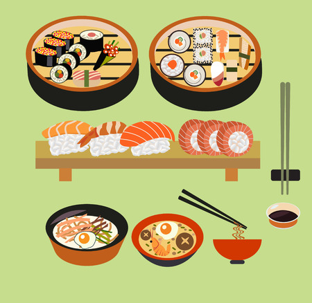 chinesisch essen: Vektor Lebensmittel-Japanisches Essen, japanische Gerichte, Sushi Set-Illustration