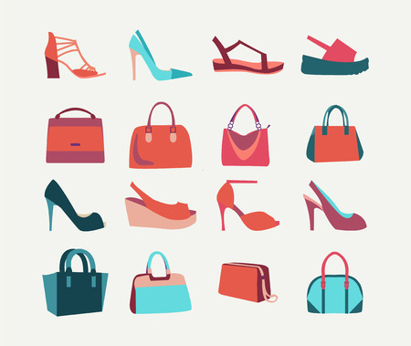 high heels shoes: Collection of  fashion Women bags handbags and High Heels shoes in flat style