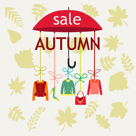 shopping bag icon: Vector background Autumn Sale. Background with Leaves -illustration Illustration