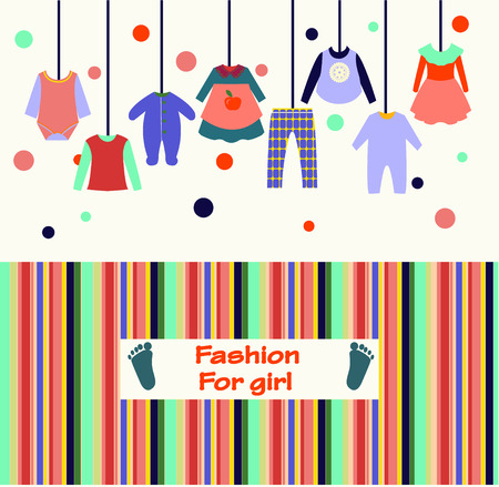 children clothing: Vector set of baby and children clothes collection for girl fashion background. Vector illustration