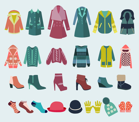 fashion boutique: Woman Clothes collection Fashion boutique  for design. set icon of winter clothes and accessories  - Illustration