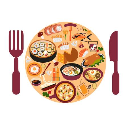 Restaurant and  dining icons set - Illustration. Asian food set