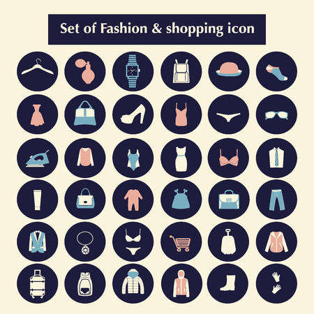 child s: Shopping and Fashion related icons made in circle shape. Clothing and accessories set icons-illustration
