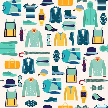 clothes: vector seamless pattern fashionable mens wear background for use in design. Fashion man cloth and accessories - Illustration