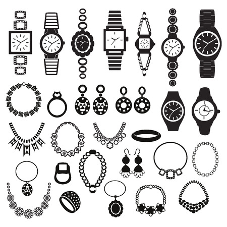 diamond jewelry: Vector black silhouette icons set with fashion watches and jewelry illustration