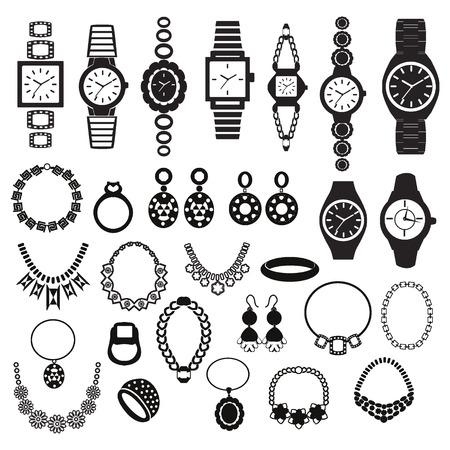 aretes: Vector silueta negro conjunto de iconos con los relojes de moda y de joyería