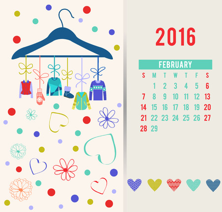 cardigan: Vector Fashion Calendar for design with beautiful clothing and accessories-illustration Illustration