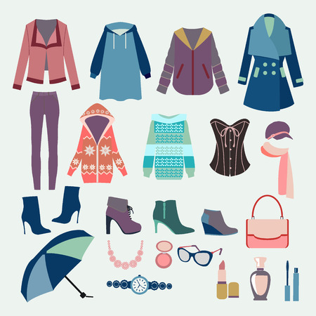 Vector of  Background with collection of winter clothes and accessories  for design fashion look. Woman Clothes collection  for design of Fashion boutique.