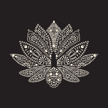 Vector Hand drawn tattoo element Henna Lotus Mehndi. Tattoo beautiful flower Illustration