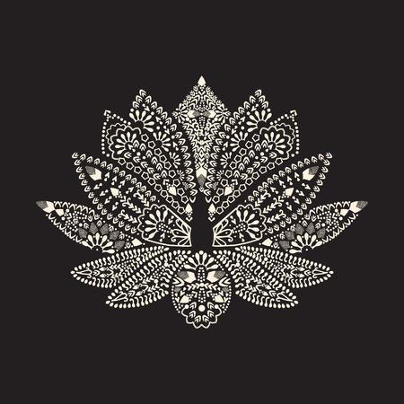 lotus pattern: Vector Hand drawn tattoo element Henna Lotus Mehndi. Tattoo beautiful flower Illustration