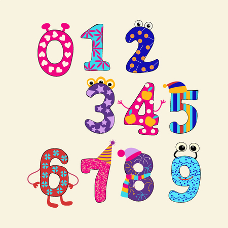 numbers: Colorful vector set vector cute numbers from 0 to 9. Funny Cartoon Numbers - Illustration Illustration