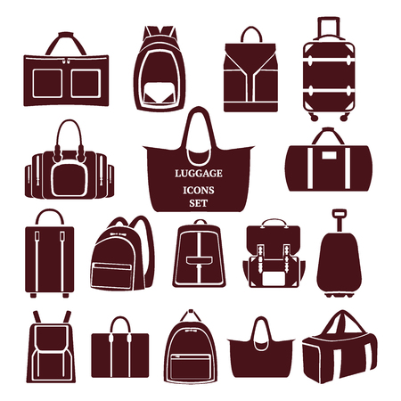 Vector icon set of various bags Baggage theme icons. Collection of Travel bags -illustration
