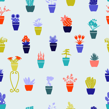 garden path: Vector pattern of different spring flowers in pots. Garden flowers  and  herbs in pots - Illustration