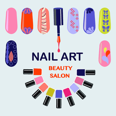 bodycare: Vector  Set of colorful nail polish bottles. Nails art beauty salon background - Illustration