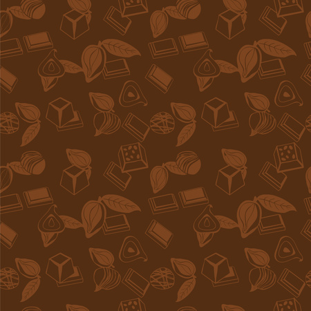 assortment: Vector background of assortment of chocolates and cacao  doodle.  Pattern of Sweet Food Illustration