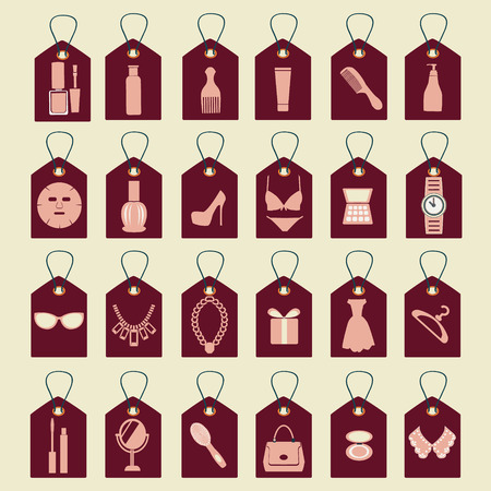 fashion shoes: vector icon set of beauty, shopping women accessories collection  silhouettes-illustration Illustration