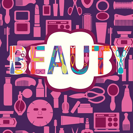 personal accessory: Vector pattern of makeup cosmetic and beauty silhouettes set icon background - Illustration