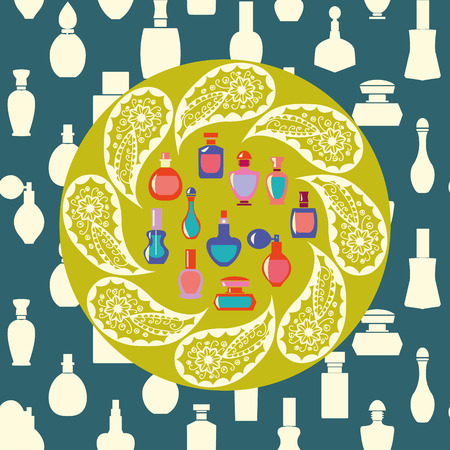 stage makeup: Vector of bottle icon collection, vector background silhouette,  Perfume Bottles  Simple shapes were used.