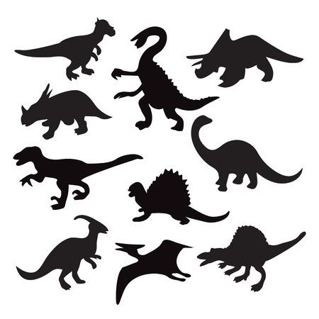 dinosaurio: Iconos conjunto de diez siluetas de dinosaurios diferentes - Ilustración