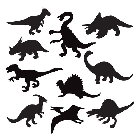 Set icons of ten different dinosaur silhouette - Illustration