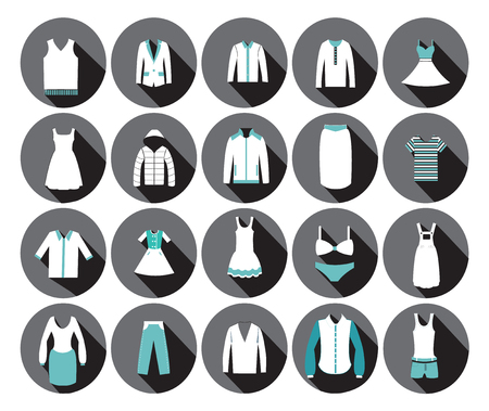 mens clothing: Store Clothing Icons - Illustration Department store clothing Fashion flat. Illustration