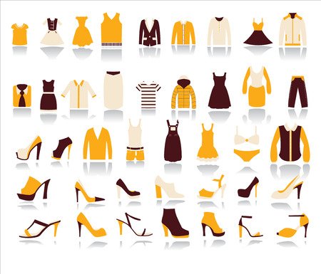 clothing store: A set of 40 Mens and Women Clothes and shoes  icons with  reflection shadows