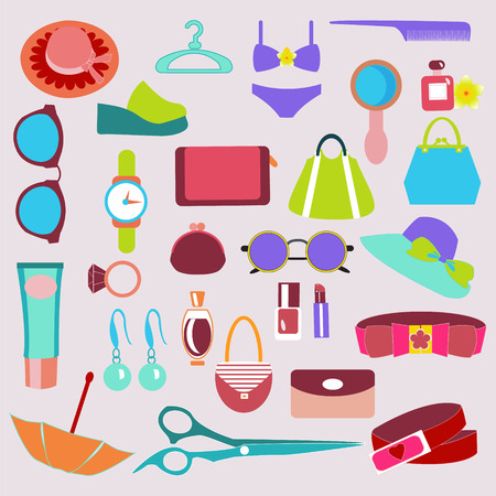 fashion accessories: Flat Icon of Fashion accessories vintage set icons Color Illustration