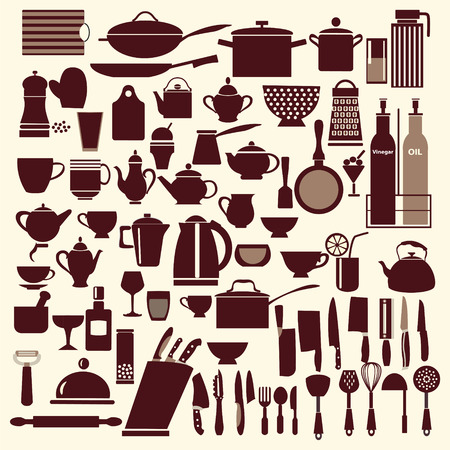 commercial kitchen: vector kitchen and restaurant icon kitchenware set